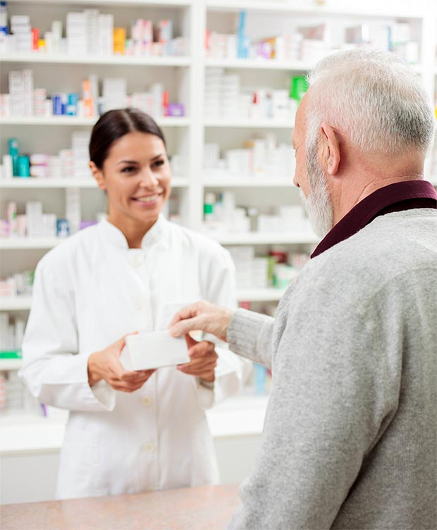 pharmacist talking to a patient.